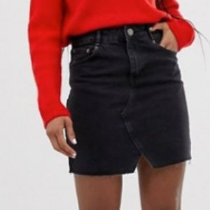 ASOS DESIGN denim skirt in washed black